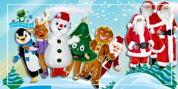 Christmas costumes advertising figures for promotion, club mascot ...
